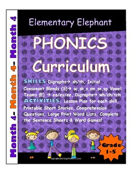 PHONICS-MONTH 4--Elementary Elephant Curriculum-Intervention/Special Ed./RTI