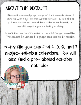 month at a glance planning by funky classroom teachers pay teachers