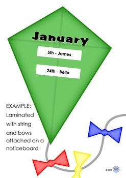 Month Birthday Kites for Classroom Noticeboard Signs - Time