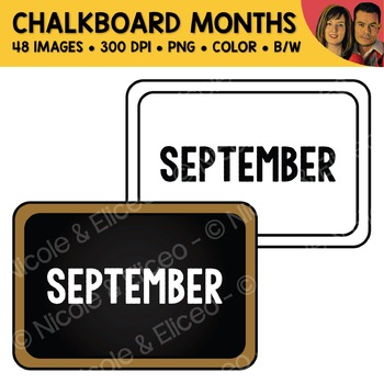 Month Chalkboard Clipart (English + Spanish)