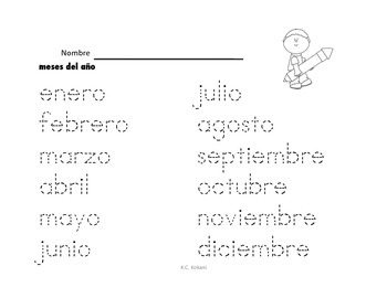 Month, Day, Colors -Spanish