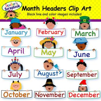 Month Headers Clip Art by TeachersScrapbook | Teachers Pay ...