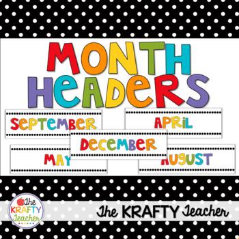 Month Headers Rainbow Colors