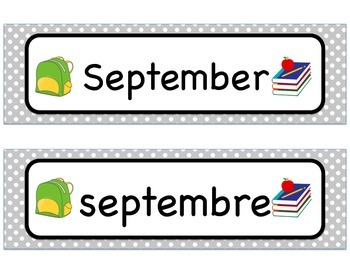 Month Labels - Bilingual (French & English)