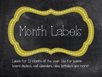 Calendar Labels (Chalkboard and Gold)