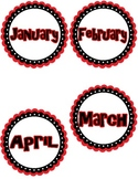 Month Labels Red, Black, White