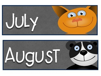 Month Name Cards: Animals