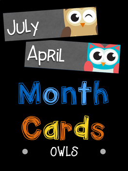 Month Name Cards: Owls