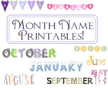Month Name Printable!! 12 Months Calendar Names!