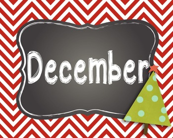 Month Poster Signs for Calendars and Birthdays-Chevron/Chalkboard Theme