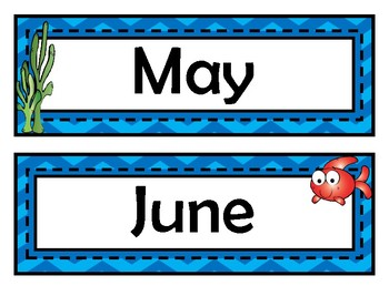 Month Signs - Fish Theme - Ocean Theme