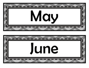 Month Signs - Gray Chevron