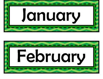 Month Signs - Green Chevron