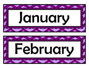 Month Signs - Purple Chevron
