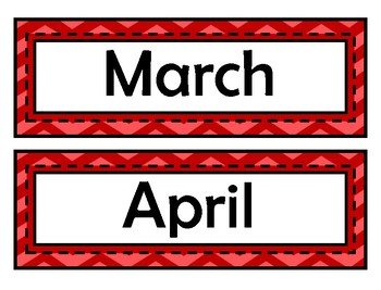 Month Signs - Red Chevron
