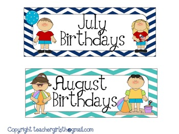 Month Signs for Birthday Board