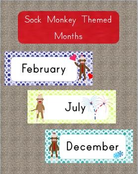 Month Tags - Sock Monkey Theme- Lime Green