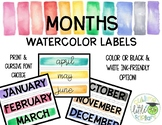 Month Watercolor Labels