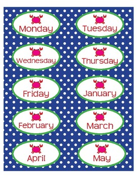 """Month and Day Labels in Preppy Crab theme - 4""""x2"""""""