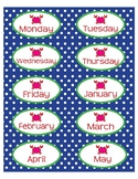 "Month and Day Labels in Preppy Crab theme - 4""x2"""