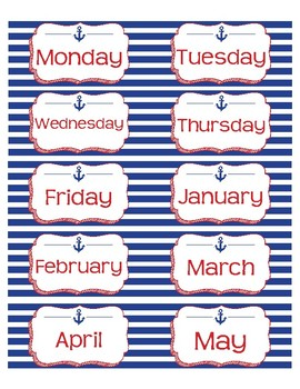 """Month and Day Labels in Nautical Anchor theme - 4""""x2"""""""