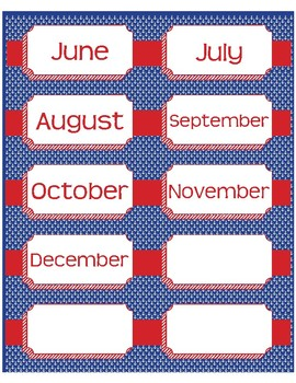 "Month and Day Labels in Preppy Anchor theme - 4""x2"""