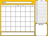 Month at a Glance Calendar and Note Catcher