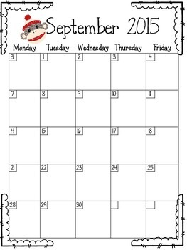 Month at a Glance Sock Monkey Theme