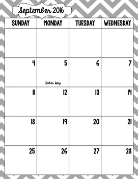 Month by Month Calendar {Gray Gingham}