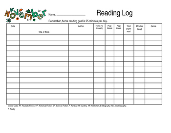 Month by Month Reading Logs