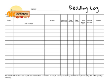 Month by Month Reading Logs without suggested reading goal