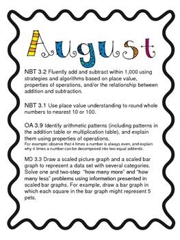 Month by Month Third Grade Common Core Math Mapping