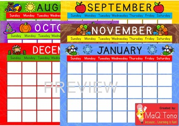 Classroom Decoration Month by Month Calendar