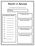 Month in Review Worksheet