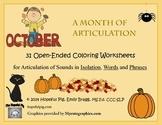 Month of Articulation October: 31 Open-Ended Coloring Worksheets for Artic