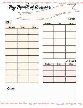Month Planner (Related service providers/Special Ed)