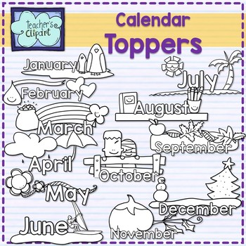 Month of the year calendar toppers (Northern hemisphere)