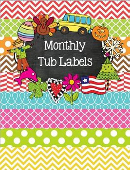 Month or Holiday Themed Tub Organization Labels