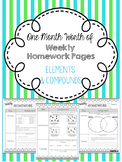 Month's Worth of  Weekly Homework: Elements, Compounds, an