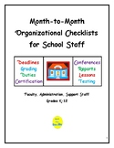 Month-to-Month Organizational Checklists for School Staff