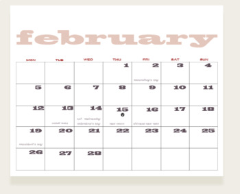 Month to Month Wall Calendar
