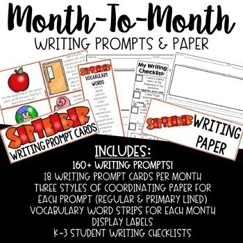 Month to Month Writing Prompt Task Cards and Paper K-3