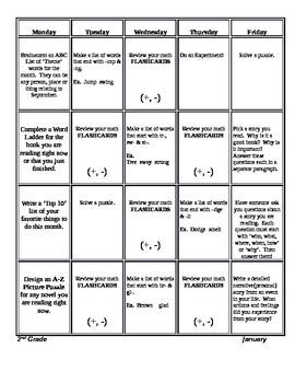 Monthly 2nd Grade Common Core Homework