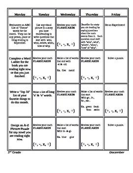 Monthly 3rd Grade Common Core Homework