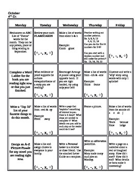 Monthly 4th Grade Common Core Homework