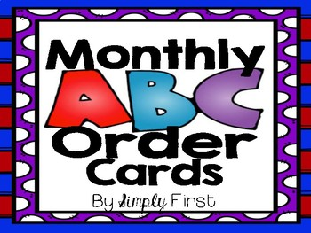 Monthly ABC Order Cards