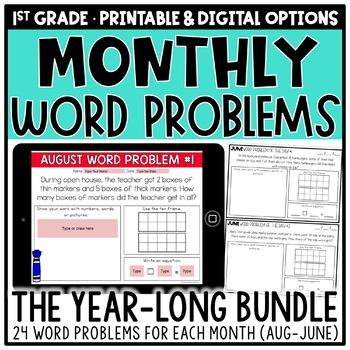 1st Grade Word Problems for Addition & Subtraction BUNDLE