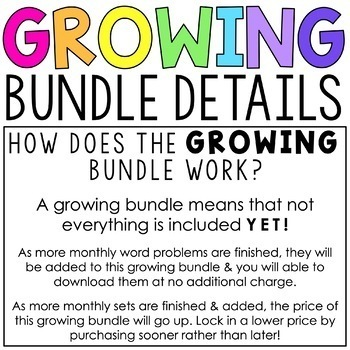 Monthly Addition & Subtraction Word Problems for 2nd Grade GROWING BUNDLE