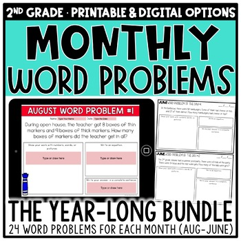 2nd Grade Word Problems for Addition & Subtraction BUNDLE