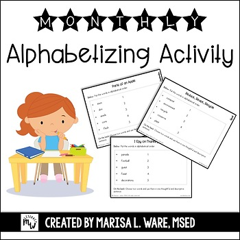 Monthly Alphabetizing Practice Activity